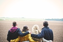 field, coats, teens, youth, standing, walking, outdoors, youth group