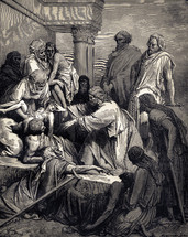 A painting depicting Jesus healing the sick.