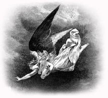 Artwork depicting an angel flying with a scroll.