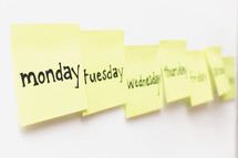 Days of the week on post-it notes