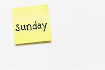 Sunday post-it note