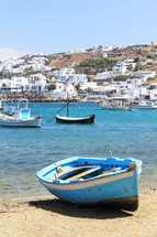 Fishing boats on a beach in Greece
