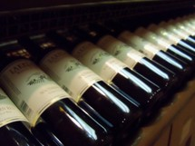 A row of Wine Bottles in a basement winery with labels in a wine rack.
