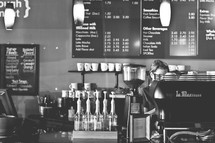 coffee shop menu and barista