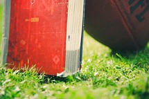 Holy Bible and football in grass