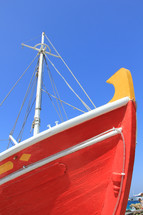 Brightly colored Greek fishing boat bow