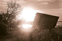 sunlit bench