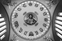 Dome painting of Jesus and the stations of the cross.