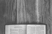 Bible opened to Galatians