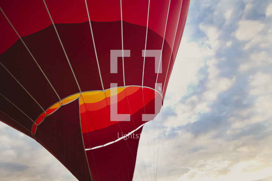 A closeup of a red hot air balloon