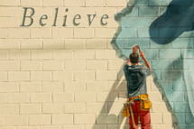 word, lettering, painted, wall, believe, carpenter, man, tools, hammer, volunteer, service, background