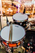 Snare drum kick bass sticks mic kit