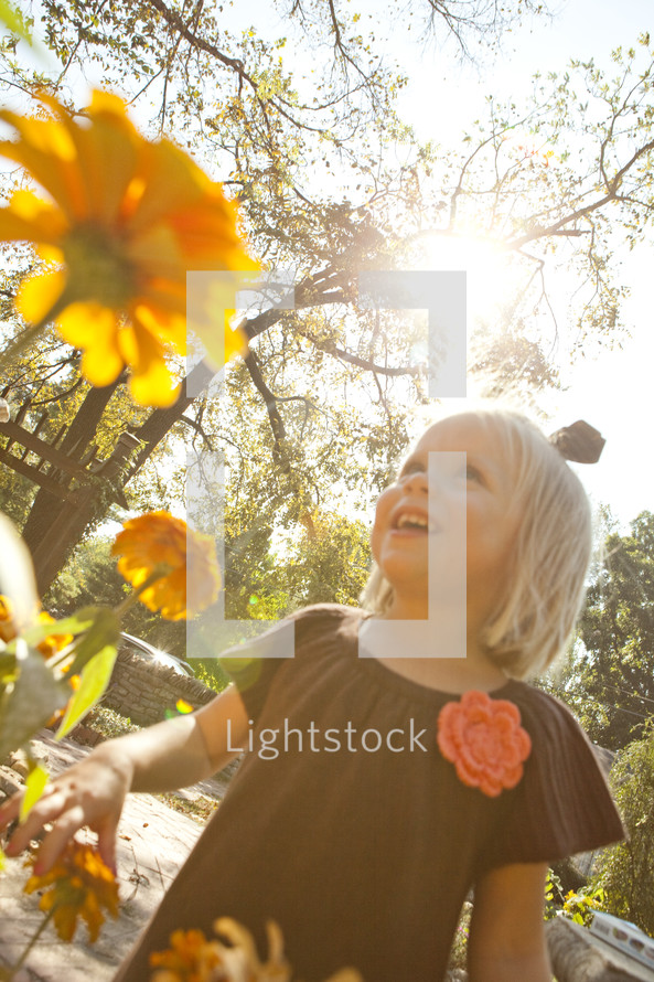 Smiling child looking up