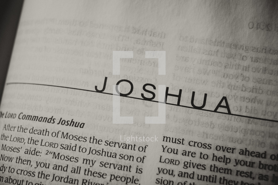 Open Bible in book of Joshua
