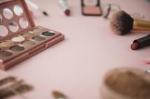 makeup on a countertop