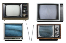 Four vintage television sets and an antenna.
