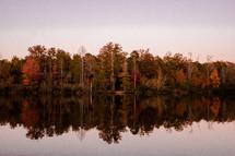 autumn trees reflecting on lake water