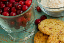 cranberries and cookies