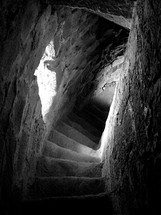 Spiral staircase in a stone castle.