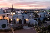lights around a coastal town