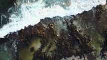 waves washing over a rocky shore