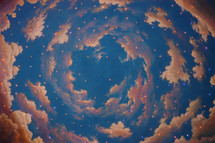 swirling sky and pink clouds painting