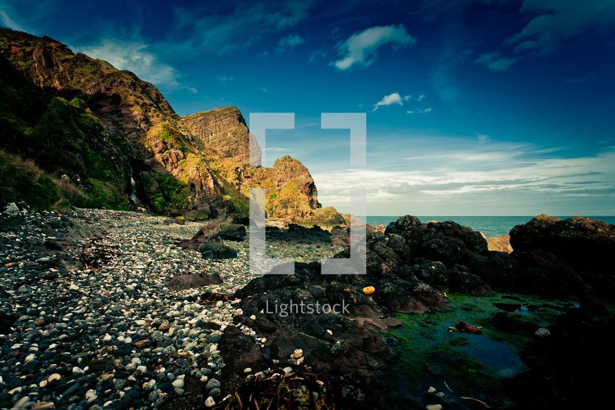 A rocky coastline.