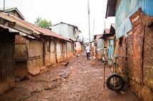 slum streets in Kenya