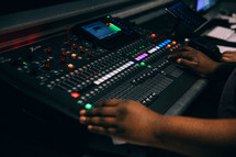 a sound production crew and sound board