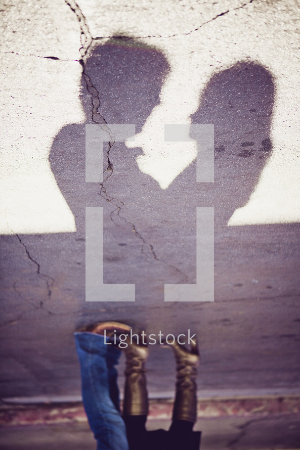 Couple silhouette shadow