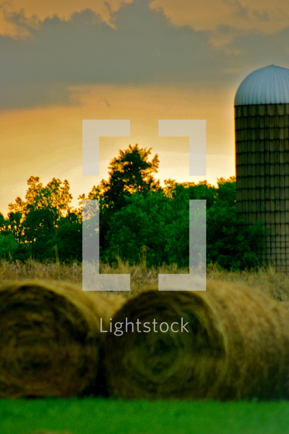 hay and a silo