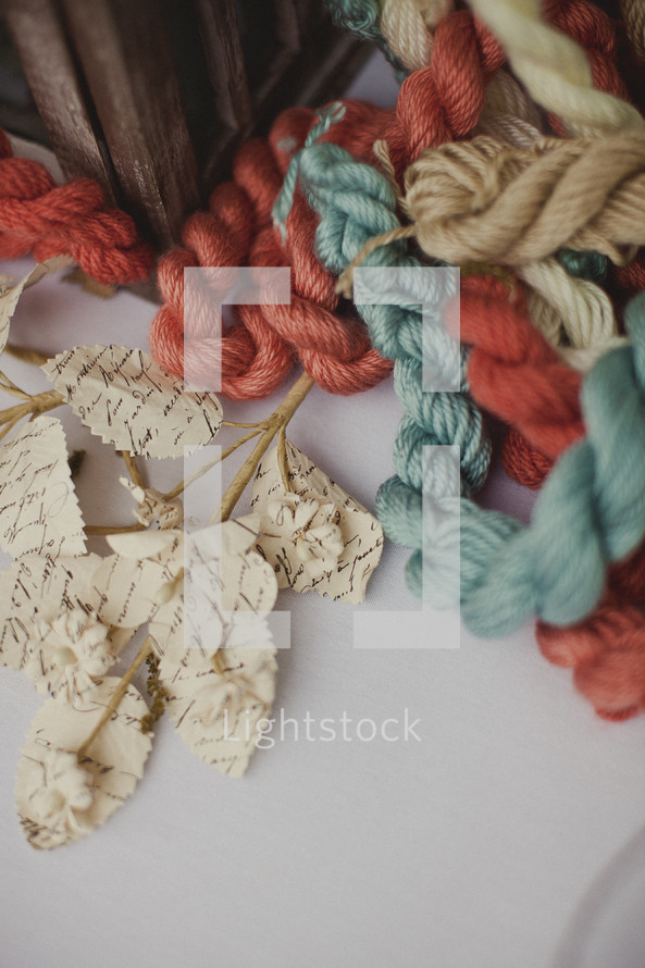 Colored ropes and artificial floral