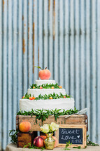 A wedding cake in a rustic setting galvanized steel peaches sweet love