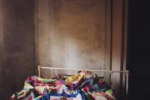 empty, messy bedroom wall