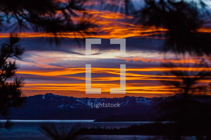 View thru pine trees of snow capped mountains lake & clouds at  orange sunset lake