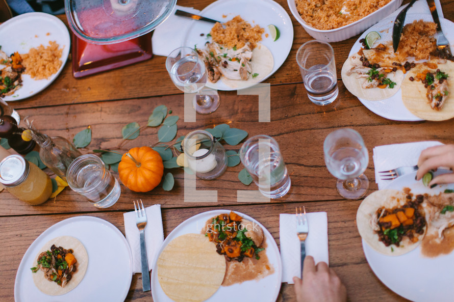 place settings on a fall dinner table