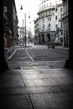 alley, street, city, urban, crosswalk, scooter, buildings, sidewalks