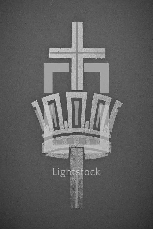 cross through a crown
