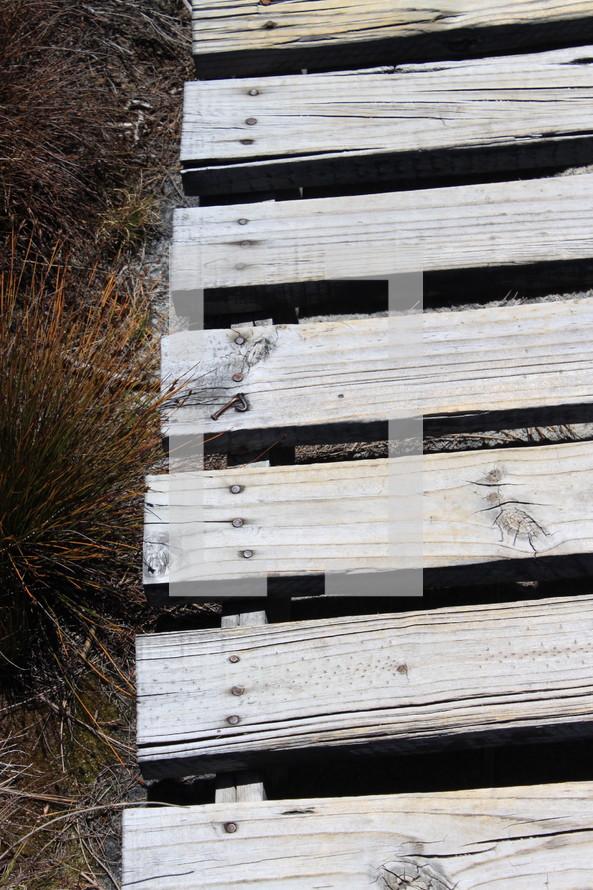 wood boards on a walkway