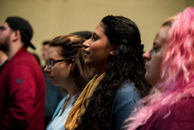 attentive parishioners during a worship service