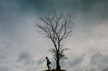 a man standing under a lone tree on a hilltop