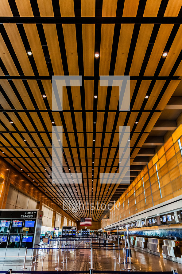 modern architectural detail on an airport terminal's ceiling gate check baggage vacation trip travel