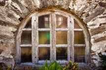 arched window with window panes