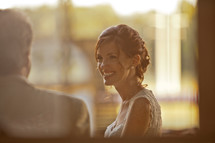 profile of a smiling bride