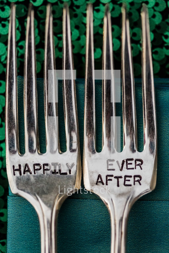 """""""Happily Ever After"""" inscribed on forks"""