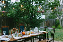 place settings on a table outdoors