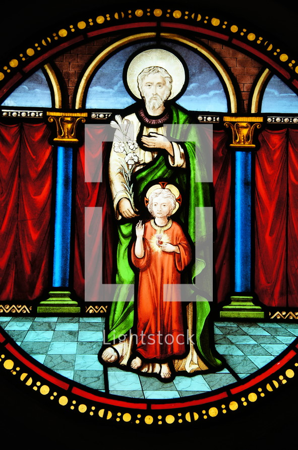 Stained Glass Church Window. Joseph and the Christ Child.