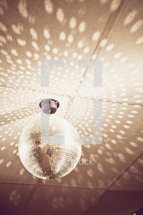 mirror ball on ceiling