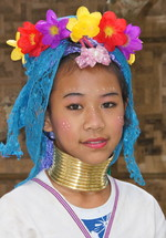 Thai mountain tribe girl in tribal wear