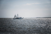 shrimp boat on the ocean